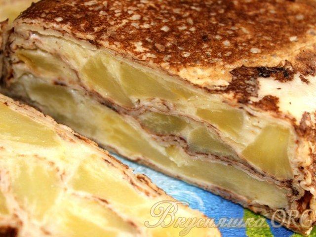 блинный торт с яблоками рецепт с фото быстро